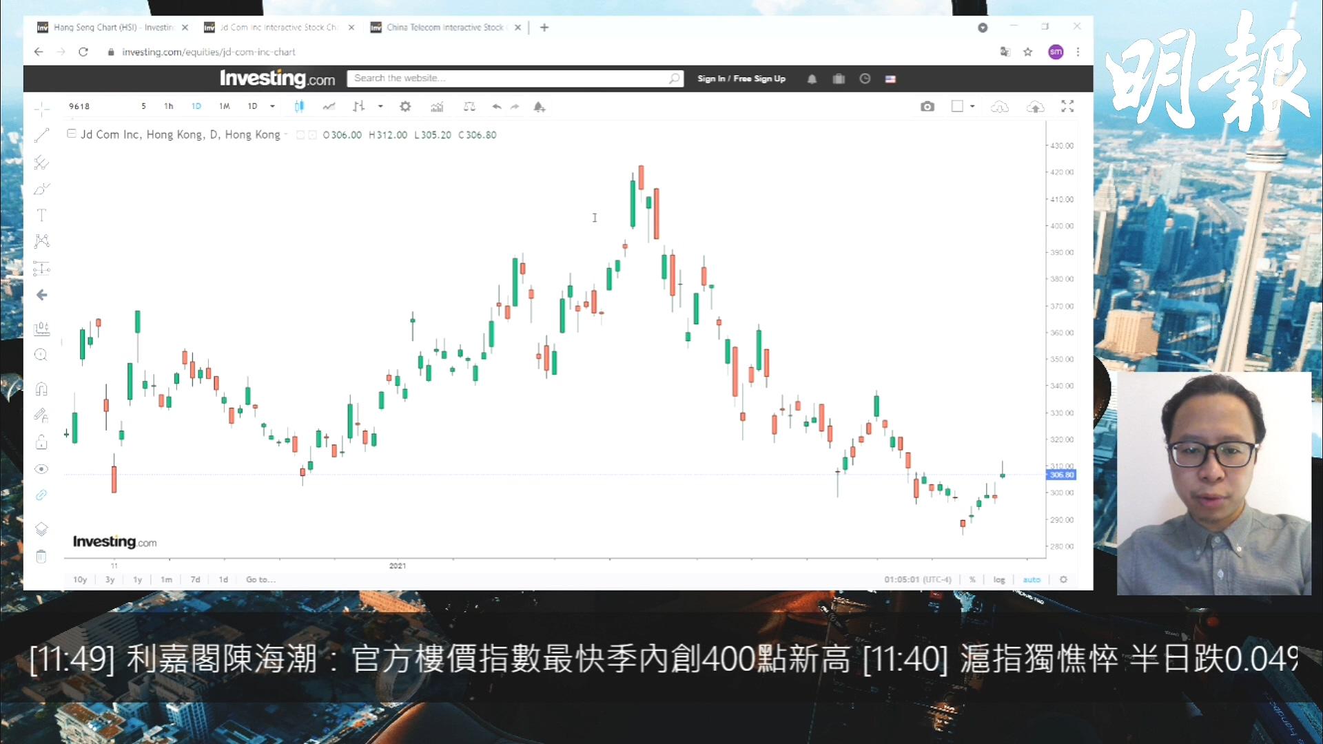 【有片:選股王】恒指高開後向下  中電信業績好過市場預期